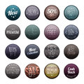 Glassy Dark Marketing Badges Stock Images