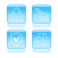 Glassy security icons set of vector illustration Royalty Free Stock Photo