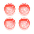 Glassy shopping icons set of vector illustration Stock Image