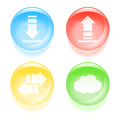 Glassy traffic icons set of colorful vector illustration Royalty Free Stock Photography