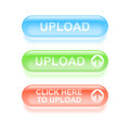 Glassy upload buttons set of colorful vector illustration Stock Image