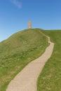 Glastonbury tor hill somerset england het uk Royalty-vrije Stock Afbeeldingen