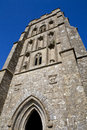 Glastonbury tor st michaels tower on in somerset england Royalty Free Stock Photo