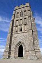 Glastonbury tor st michaels tower on in somerset england Stock Images