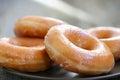 Glazed donuts background image macro with shallow dof Royalty Free Stock Photography