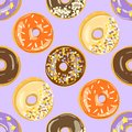 Glazed Donuts seamless pattern. Vector illustration. Top View doughnuts background