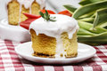 Glazed easter cake on squared table cloth Royalty Free Stock Photo