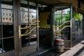 Glazed entrance to the luxurious restaurant Royalty Free Stock Photo