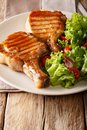 Glazed honey grill steak served with a salad of fresh vegetables Royalty Free Stock Photo