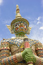 Glazed tile giant statue in wat phra kaew Royalty Free Stock Image