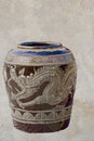 Glazed water jar with dragon pattern for water at chonburi thailand Stock Image