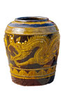 Glazed water jar with dragon pattern for water at chonburi thailand Stock Photography