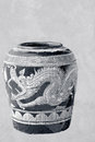 Glazed water jar with dragon pattern for water at chonburi thailand Stock Photo