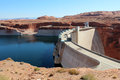 Glen canyon dam lake powell the near page arizona is a concrete arch built to provide hydroelectricity and flow regulation from Royalty Free Stock Photography