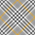 Glen plaid pattern vector in grey, yellow, white. Royalty Free Stock Photo