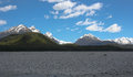 Glenorchy new zealand spectacular snow capped mountains rise from the famous region of Royalty Free Stock Image