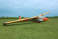 Glider plane on grass Royalty Free Stock Photo