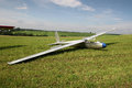 Glider ready to fly the on the country aerodrome in the field Royalty Free Stock Image