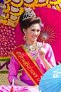 Glimlach van Dame in het Festival zesendertigste van de Bloem Chiangmai. Royalty-vrije Stock Afbeeldingen