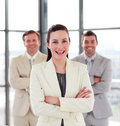 image photo : Smiling businesswoman with her team