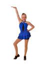 Glimlachende tienertapdanser blue dress Stock Afbeeldingen