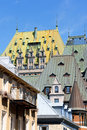 Glimpse of old quebec city canada with chateau frontenac hotel and some houses Stock Photo