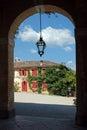 Glimpse from the porch of a venetian villa barbaro italy Stock Image