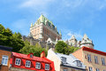 Glimpse of quebec city view some old buildings from the lower old town and chateau frontenac hotel in the background Stock Photography