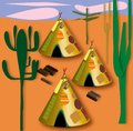 Landscape of a village with American Indian tent among the cactus