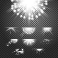 Glint glory effect. Simple vector white and bright suns on transparent background Royalty Free Stock Photo