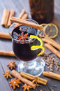 Glint wine glass of with cinnamon and cloves Royalty Free Stock Photography