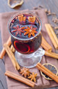 Glint wine in glass and spices Royalty Free Stock Photography