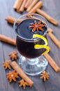 Glint wine in glass and spices Stock Photography