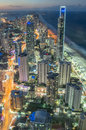 Glistening city lights of the Gold Coast at Surfers Paradise. Royalty Free Stock Photo