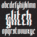 Glitch distortion gothic font Royalty Free Stock Photo