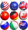 Glitter balls with flags Stock Image