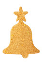 Glitter christmas mas bell decoration isolated on white Royalty Free Stock Photo
