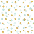 Glitter confetti polka dot seamless pattern background. Golden and pastel blue trendy colors. For birthday and scrapbook