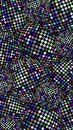 Glitter disco balls vertical banner. Blue lilac sparkles texture. Shimmer spheres abstract background. Festive creative glitz deco Royalty Free Stock Photo