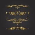 Glitter gold flourishes design elements Stock Photography