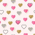 Glitter gold and watercolor pink hearts seamless pattern. Valentines Day background. Bright doodle heart confetti