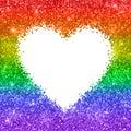 Glitter heart backgrond, LGBT colors. Vector