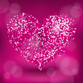 Glitter heart blink in pink color Royalty Free Stock Photo