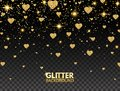 Glitter heart confetti. Gold glitter particles effect for luxury greeting card. Sparkling texture. Valentines day bright design