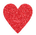 Glitter red heart isolated on white valentines day macro Stock Photos