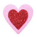 Glitter red and pink hearts isolated on white macro valentines day Royalty Free Stock Image