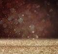 Glitter vintage lights background light gold and black defocused Stock Photography