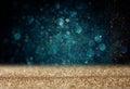 Glitter vintage lights background light gold and blue defocused Stock Images