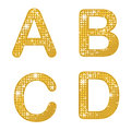 Glittering abcd a set of four alphabetical letters Royalty Free Stock Photo