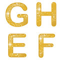 Glittering efgh a set of four alphabetical letters Royalty Free Stock Photography